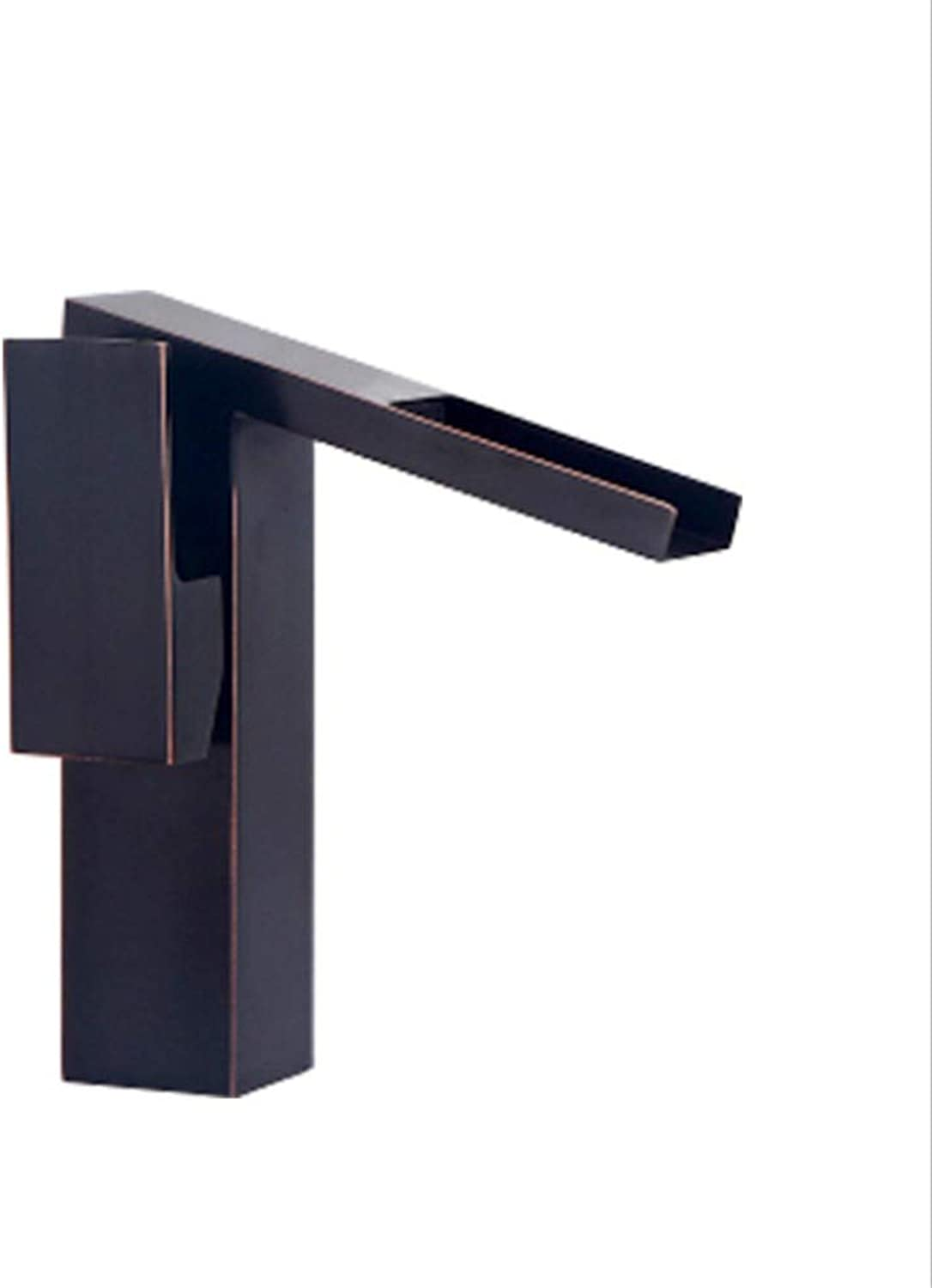 Kitchen Sink Taps Bathroom Taps All Copper Black Waterfall Faucet Hot and Cold Basin Faucet Washbasin Faucet.