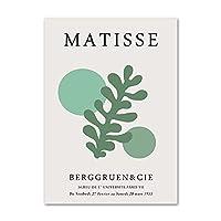 マティスのポスターとプリント緑の植物の葉壁アートマティスの写真リビングルームのモダンな装飾のための抽象的なキャンバスの絵画50x70cmx1フレームなし