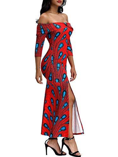 Women's Plus Size Off Shoulder Floral Print Short Sleeve Bodycon Maxi Long Dress (Apparel)