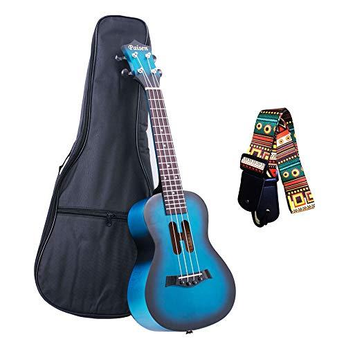 Paisen Lindo ukelele de concierto azul de 23 pulgadas para principiantes y niños con bolsa de ukelele acolchada gruesa, correa, el mejor regalo Aprenda a tocar el kit