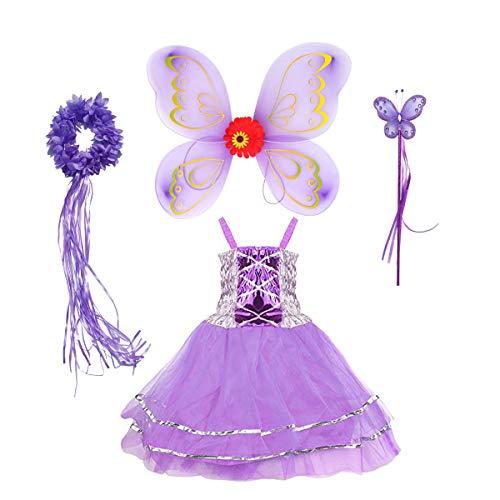 Tante Tina Schmetterling Feenkostüm Mädchen - 4-teiliges Mädchen Kostüm mit Tüllkleid, Flügel, Zauberstab und Haarreif - Lila- geeignet für Kinder von 2 bis 8 Jahren