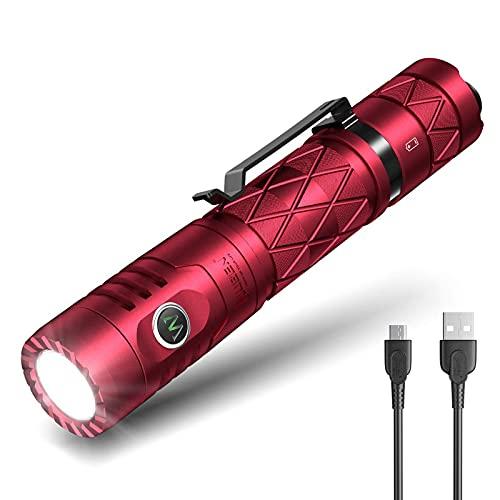 WUBEN E12R - Linterna led con función de batería externa, USB C, recargable, salida USB, 1200 lúmenes, resistente al agua, 6 modos, linterna multifunción para exteriores, con difusor (rojo)