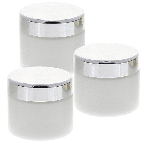 Weiß Glas-Tiegel 50ml mit Deckel Silber, Leere Kosmetex Creme Glas-Dose, Kosmetik-Dose aus Weißglas, Weiß - Silber, 3 Stück