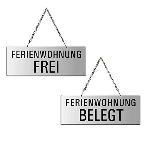 Ofform - Wendeschild Ferienwohnung Frei/Ferienwohnung Belegt | Aluminiumschild mit Kette | 175x65 mm Nr.31227-E