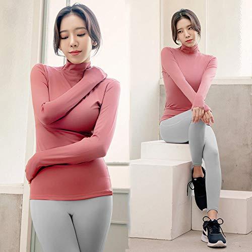 RRUI Panty voor dames, leggings voor lange mouwen, fitness T-shirt, twee nieuwe stretch t-shirts lycra Powder Top + zwarte broek M.