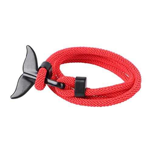Holibanna Pulsera de Ancla Cola de Ballena Encanto Náutico Cuerda Multijugador Tejido Trenzado Cuerda de Nailon Pulsera Negro Rojo