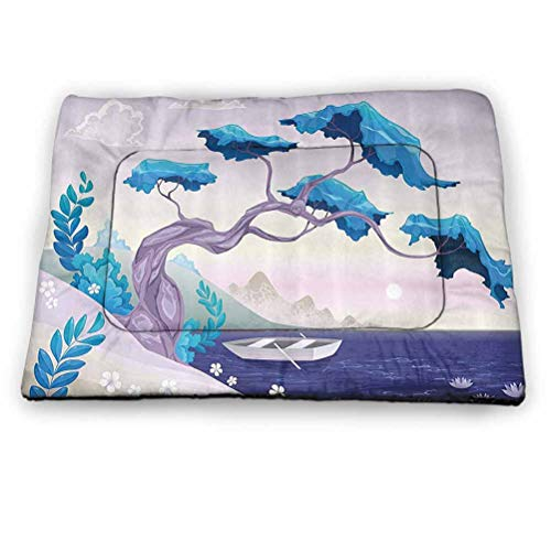 prunushome Pet Crate Mat Dog Bed Coastal Decor Dog/Cat Cage Mat Cusion Fantastic Landscape Bonsai Tree Sea Water Lilies Daisies and Boat for Indoor/Outdoor Use Blue Light Blue Lilac (21'x14')