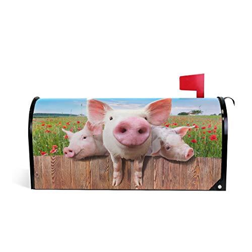 CPYang Magnet-Briefkasten-Abdeckung mit lustigem Schweinchen und Mohnblumen, für Zuhause, Garten, Hof, Deko