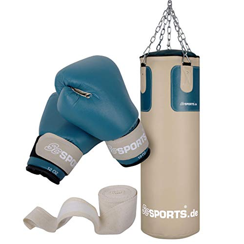 ScSPORTS Boxsack-Set mit Boxsack 25 kg, inklusive Boxhandschuhen, Boxbandagen und 5-Punkt-Stahlkette, beige/Petrol, durch Intertek geprüft + bestanden¹