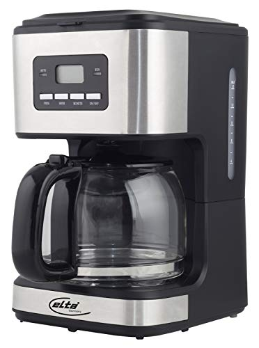 Elta Kaffeemaschine Silver Line KM-900.15TS (900 Watt, 1,5L Glaskanne, Timer- und Preset-Funktion, Edelstahloptik, 14 Tassen, Warmhaltefunktion), Farbe:silber