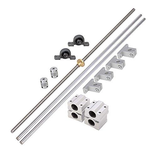 BQLZR L500mm D8mm 8mm Tornillo de doble pista horizontal Cojinete de acoplamiento y eje lineal Conjunto de cojinete de eje ¨®ptico
