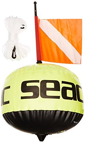SEAC Boa Sferica, Fluorescente di Segnalazione con Bandierina e Sagola 25 mt Unisex Adulto, Giallo, 57 cm