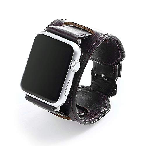 Lederen horlogeband Compatble met Apple Watch 38mm 42mm, Echt lederen vervangende riem met Secure Metal Buckle voor iWatch Series 4/3/2/1