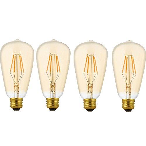 4 Pack Dimmbare LED E27 4W ST64 Filament Glühbirne Edison Vintage Glühlampe Lampe Birne Warmes Licht 2200K,Ideal Für Nostalgie und Antik Beleuchtung