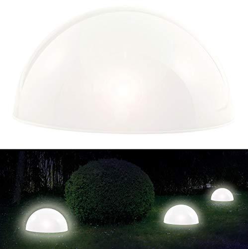 Lunartec Solar Halbkugel: Solar-Leuchthalbkugel mit weißen LEDs & Dämmerungsautomatik (Solar Halbkugel Garten)