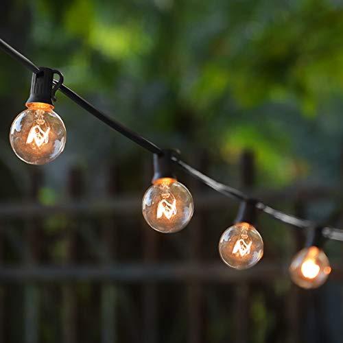 Guirnaldas luminosas de exterior,G40 Vintage Edison Bulbs 30 Enchufes Colgantes, Luces Colgantes de Interior/Exterior para Patio, Jardín, Patio Trasero, Bistró, Pérgola, Decoración de Cenador