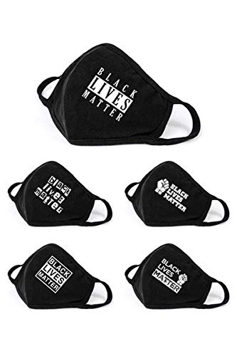 5 Pack Black Lives Matter Graphic Printed Cotton Face Mask Bandana Balaclava Unisex Adult Size