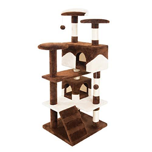 JAMAXX tiragraffi per gatti 130 cm/H albero da arrampicata extra morbido in peluche con grotte e molte piattaforme