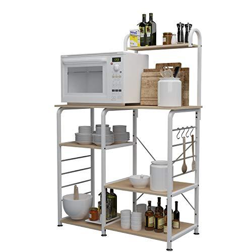 sogesfurniture Estante de Cocina Estantería para Microondas Estantería Metálica, 3 + 4 Niveles Baker