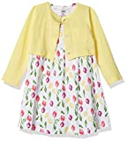Luvable Friends Baby and Toddler Girl Dress and Cardigan, Tulips, 12-18 Months