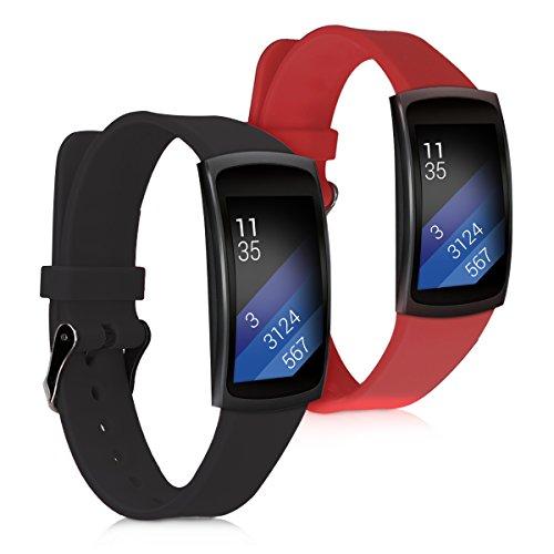 kwmobile 2X Pulsera Compatible con Samsung Gear Fit2 / Gear Fit 2 Pro - Brazalete de Silicona Rojo Oscuro/Negro sin Fitness Tracker