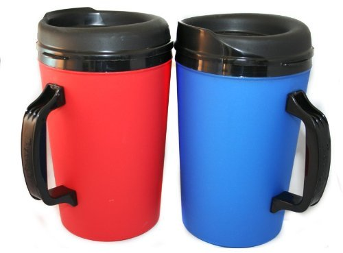 2 ThermoServ Foam Insulated Coffee Mugs 34 oz (1) Blue & (1) Red