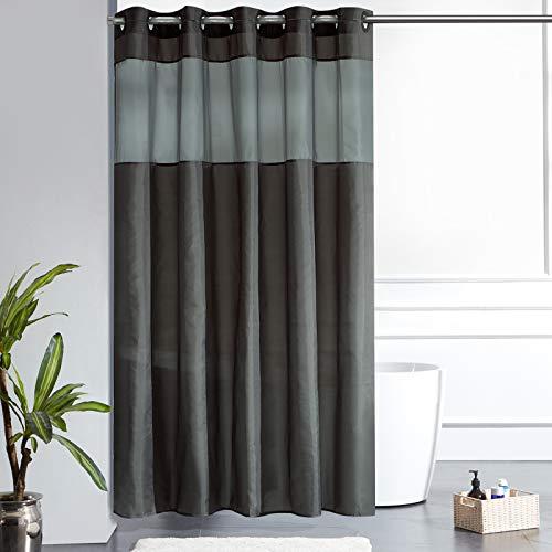 Furlinic Duschvorhang Überlänge Hookless mit Gazefenster Anti-schimmel Wasserdicht Waschbar Textile für Bad Badewanne 180x210 Dunkelgrau mit Groß Ösen.