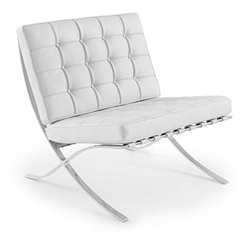 ARTIS DÉCOR Premium Lounge Chair - Premium Quality Imported Aniline Italian Leather - Seamless Corners - Fully Leather Cushions Including Piping and Buttons - White