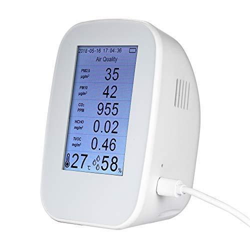 Digitaler Luftqualitätsdetektor Innen- / Außenthermometer, Luftfeuchtigkeitsmesser HCHO & TVOC Tester CO2-Messgerät Monitor Tester Luftanalysatoren mit Akku