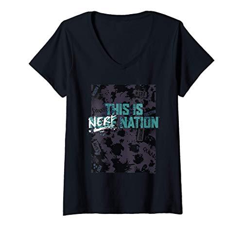 Damen Nerf This Is Nerf Nation Poster T-Shirt mit V-Ausschnitt