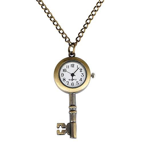 Bronce Antiguo Lindo Encantador Vintage Forma de Llave Reloj de Bolsillo de Cuarzo Hebilla Collar Regalo Pared gráfico Fob Colgante Reloj coleccionables