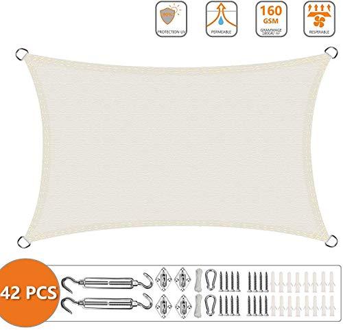 YYSDH Sonnenschutz Segel 2x7m, Schattenspender, Wasserabweisend & Windabweisend, mit Freiem Seil, für Garten Balkon Terrasse-3x5.5m Milchig Weiß