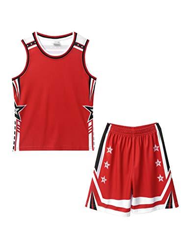 inhzoy Kinder Basketball Trikots Set Sport Anzug ärmelloses/Kurzarm Trikot Shirt Weste Top Shorts Sommer Sportswear Für Jungen Mädchen Atmungsaktiv Schnelltrocknend Rot 134-140