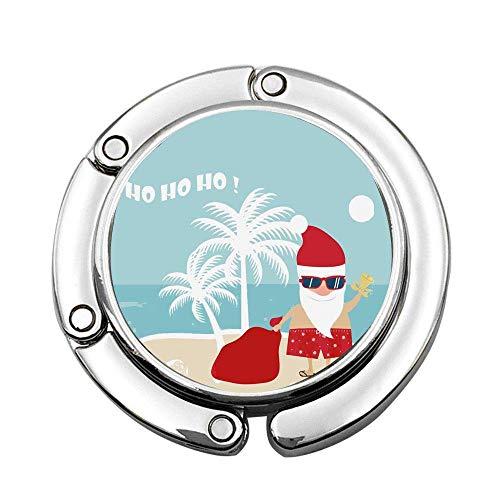 Papá Noel en la Playa Arte Tropical Bolso Plegable para Dama Mesa Escritorio Gancho Gancho Monedero Soporte para suspensión de Mesa