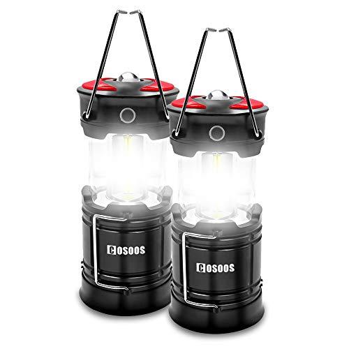 Paquete de 2 linternas de camping recargables COSOOS linterna LED con batería incorporada, 4 modos de iluminación, mejor para exteriores, emergencia, senderismo, huracán, corte de energía (cables de carga incluidos)