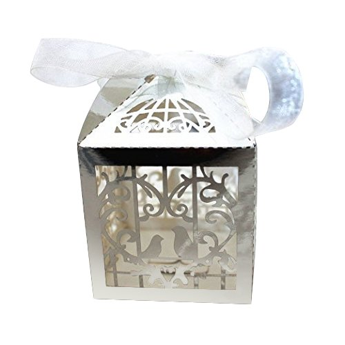Gospire 50pcs Deluxe Party Wedding Favor Super Gift Laser Cut Pearl Paper Ribbon Candy Boxes Gift Box Bombonera Classical Bird Style (Bright Silver)