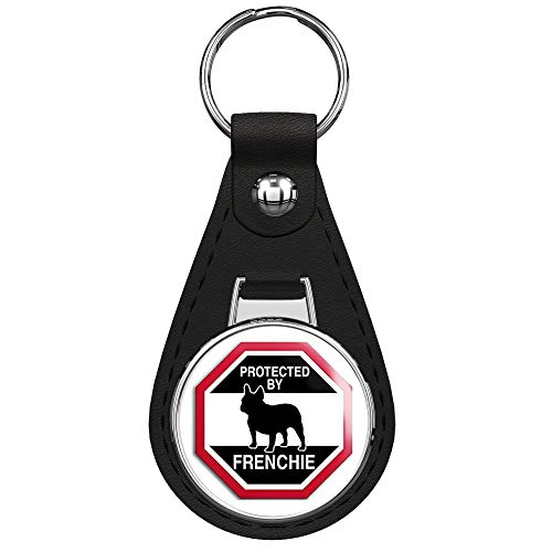 PRS Vinyl Octangular Protected by Frenchie (Funny Dog Breed Love) Black Leather Keychain Silver Keyring