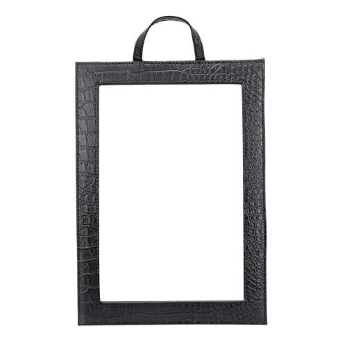 Make-upspiegel, vierkante spiegel met handgreep PU Rechthoekig frame Tafelblad Make-upglas Perfect voor kaptafel Badkamer