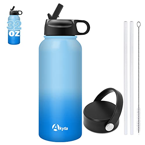 Akyta Vacuum-Insulated Stainless Steel Water Bottle 32oz with Straw Lid,Handle Lid, Wide Mouth Sports Thermos Water Bottle Travel Mug Gym Water Flask for Hiking, Fitness,Office(Ocean Blue)