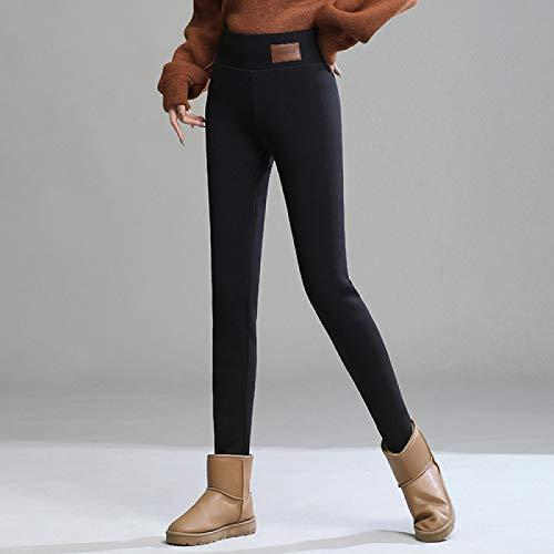 Leggings más Cachemir Leggings para Mujer Invierno Nuevo Plus Velvet Thicken Prendas De Abrigo De Cintura Alta Pantalones De Licra Pantalones Mujer XXL Negro