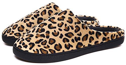 ChayChax Leopard Hausschuhe Herren Damen Plüsch Pantoffeln Filzpantoffeln Indoor Outdoor mit wasserdicht rutschfest Sohle, Braun Leopard, 46/47 EU