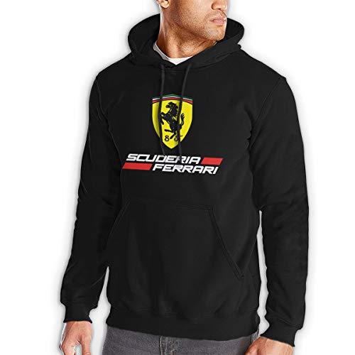 Herren Black Hoodies Sweatshirt Ferrari Langarmpullover Mit Pocket Hoodie Jacke L