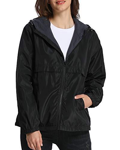 iloveSIA Womens Fleece Lined Hooded Jacket with Rainproof Windproof Shell US 12 Black
