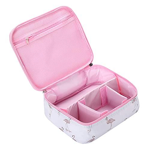 JooNeng, piccola borsa da viaggio per trucchi, con scomparti, organizer cosmetici, trousse per donne e ragazze White Flamingo