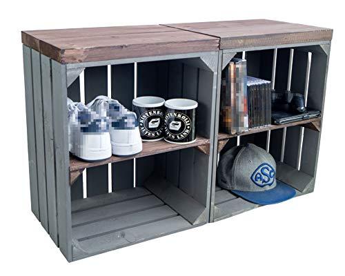 2er Set Nachttisch Abstelltisch Nachtschrank Nachtkommode Beistelltisch Bücherregal Schuhregal ca 30x40x55cm Regalkiste Flaschenablage Weinregal Apfelkiste/Weinkiste (GRAU Planke PALISANDER)