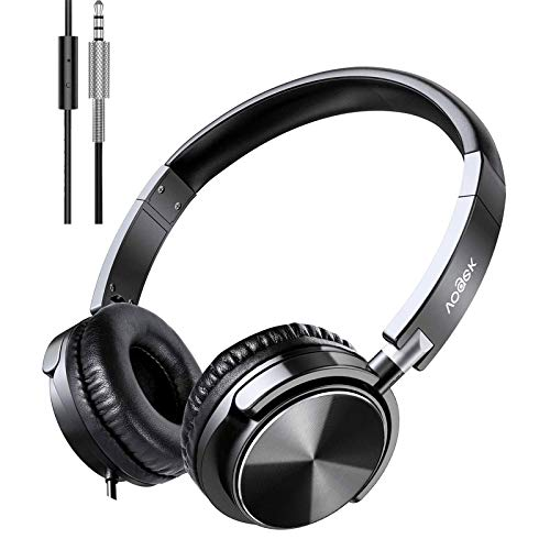 Kopfhörer mit Mikrofon, faltbares Vogek-On-Ear-Headset mit tiefem Bass, verstellbarem Kopfbügel und Geräuschisolierung für Smartphone Computer Laptop Chromebook MP3 / 4 (Schwarz)