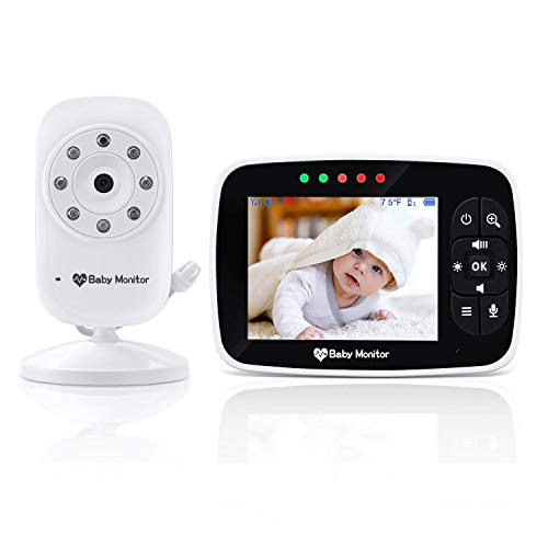 Baby Monitor, Video Baby Monitor with 3.5 inch LCD Screen Display Infant Night Vision Camera,Two Way Audio,Temperature Sensor,ECO Mode,Lullabies and Long Transmission Range