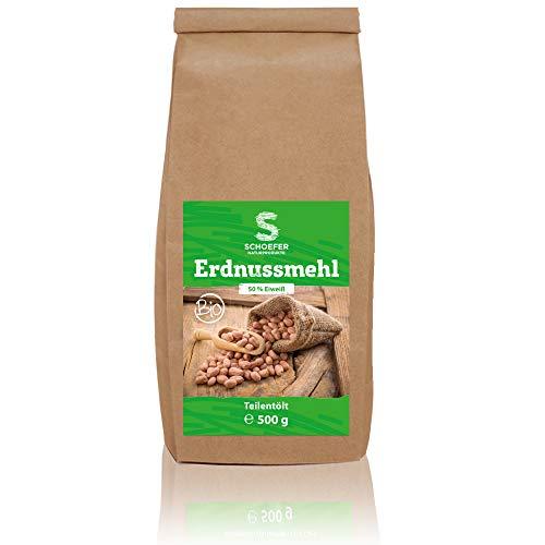 Bio Erdnussmehl - Gemahlene Erdnüsse Entölt – Erdnussprotein - Pflanzliches Proteinpulver Lactosefrei 500g