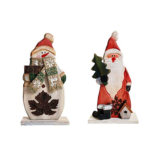 YUMBOR Wood Christmas Snowman Santa Figurines Christmas & Winter Decor 9.75''H, Antique Table Top Mantle Christmas Centerpiece Decoration(Snowman & Santa Claus)