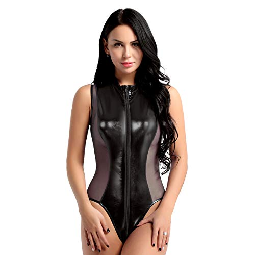 moily Women's One Piece Shiny Metallic Patent Leather Sheer Mesh Mock Neck Leotard Swimsuit Black Large